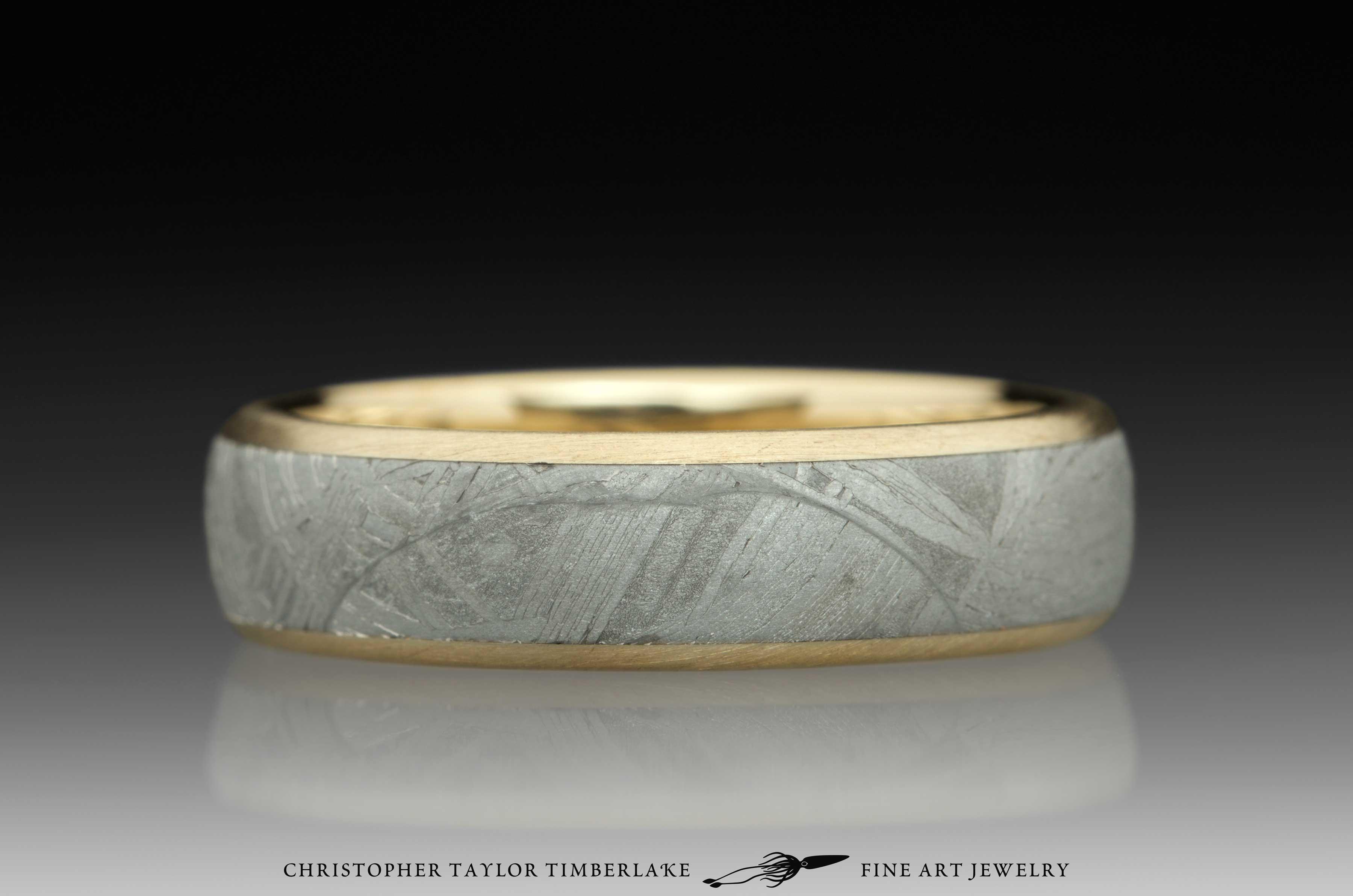 Meteorite-14K-karat-yellow-gold-ring,-domed,-etched,-(.75-4.5-.75)-6mm,-14K-yellow-gold-rims-2
