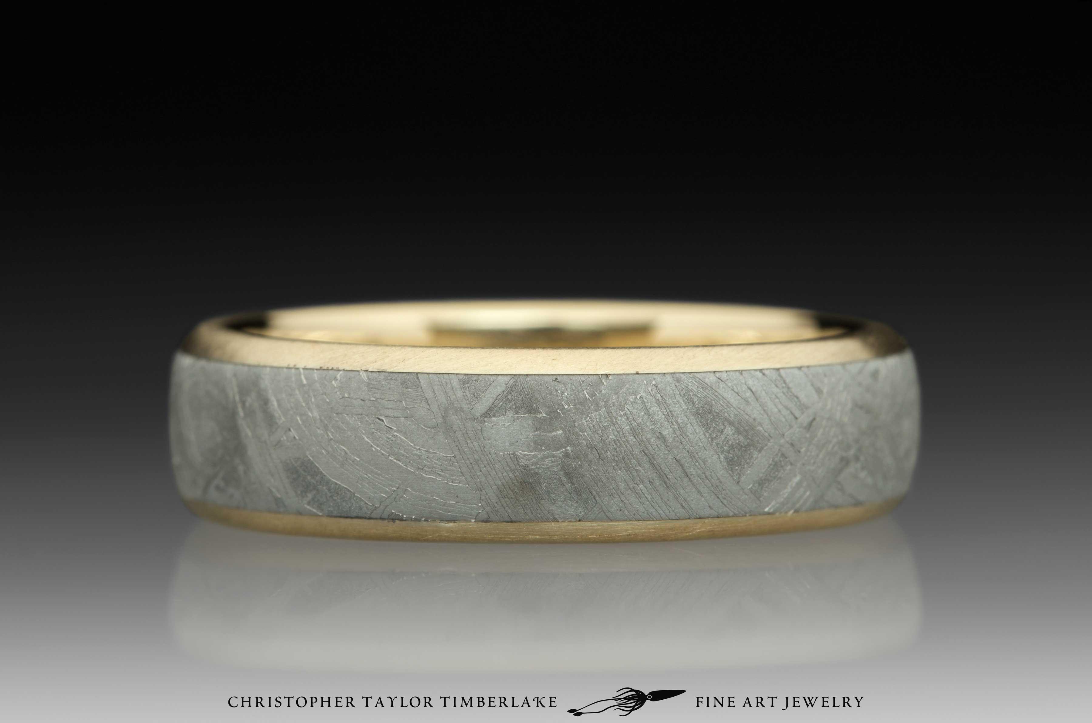 Meteorite-14K-karat-yellow-gold-ring,-domed,-etched,-(.75-4.5-.75)-6mm,-14K-yellow-gold-rims-3