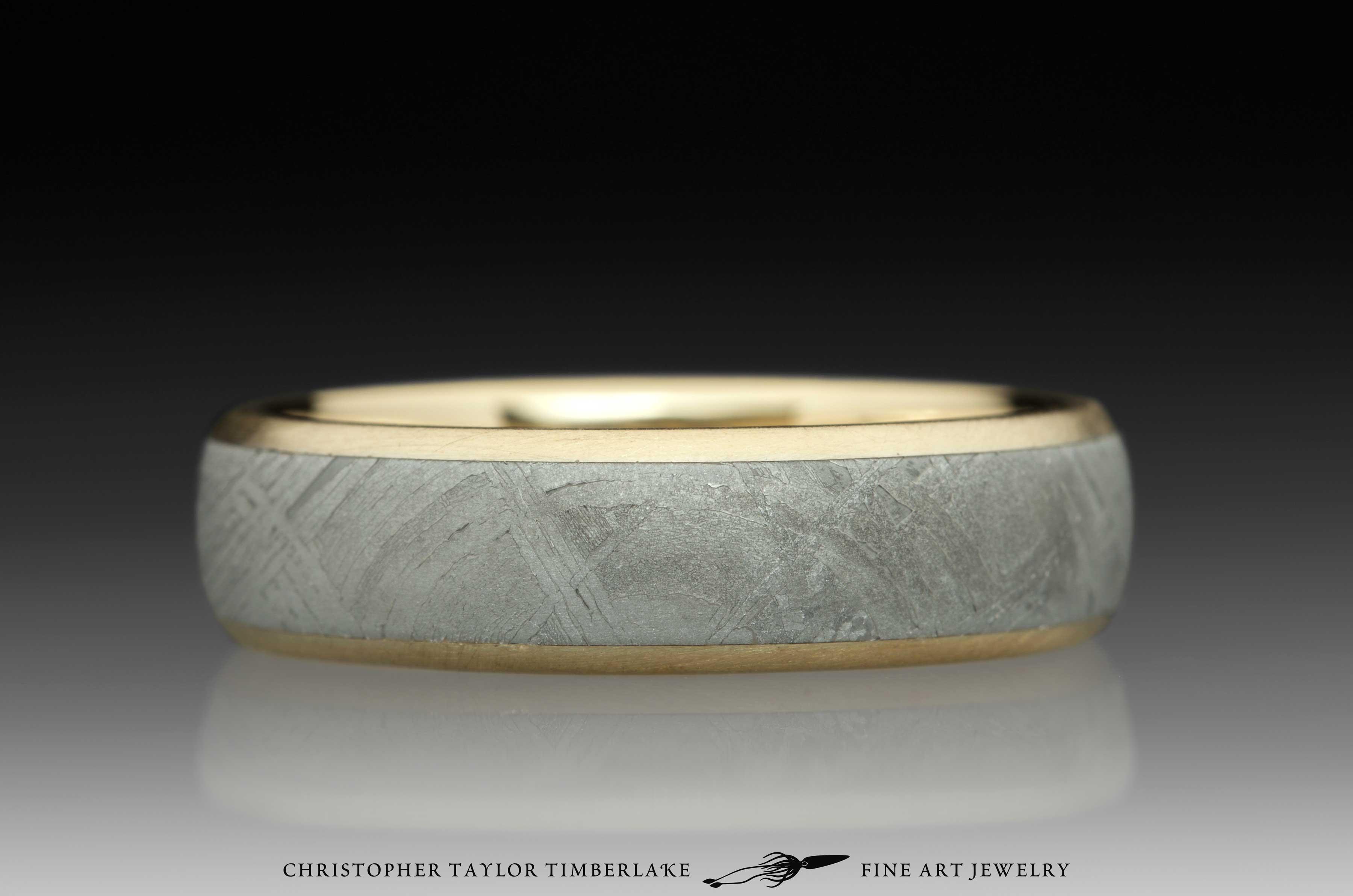 Meteorite-14K-karat-yellow-gold-ring,-domed,-etched,-(.75-4.5-.75)-6mm,-14K-yellow-gold-rims-4
