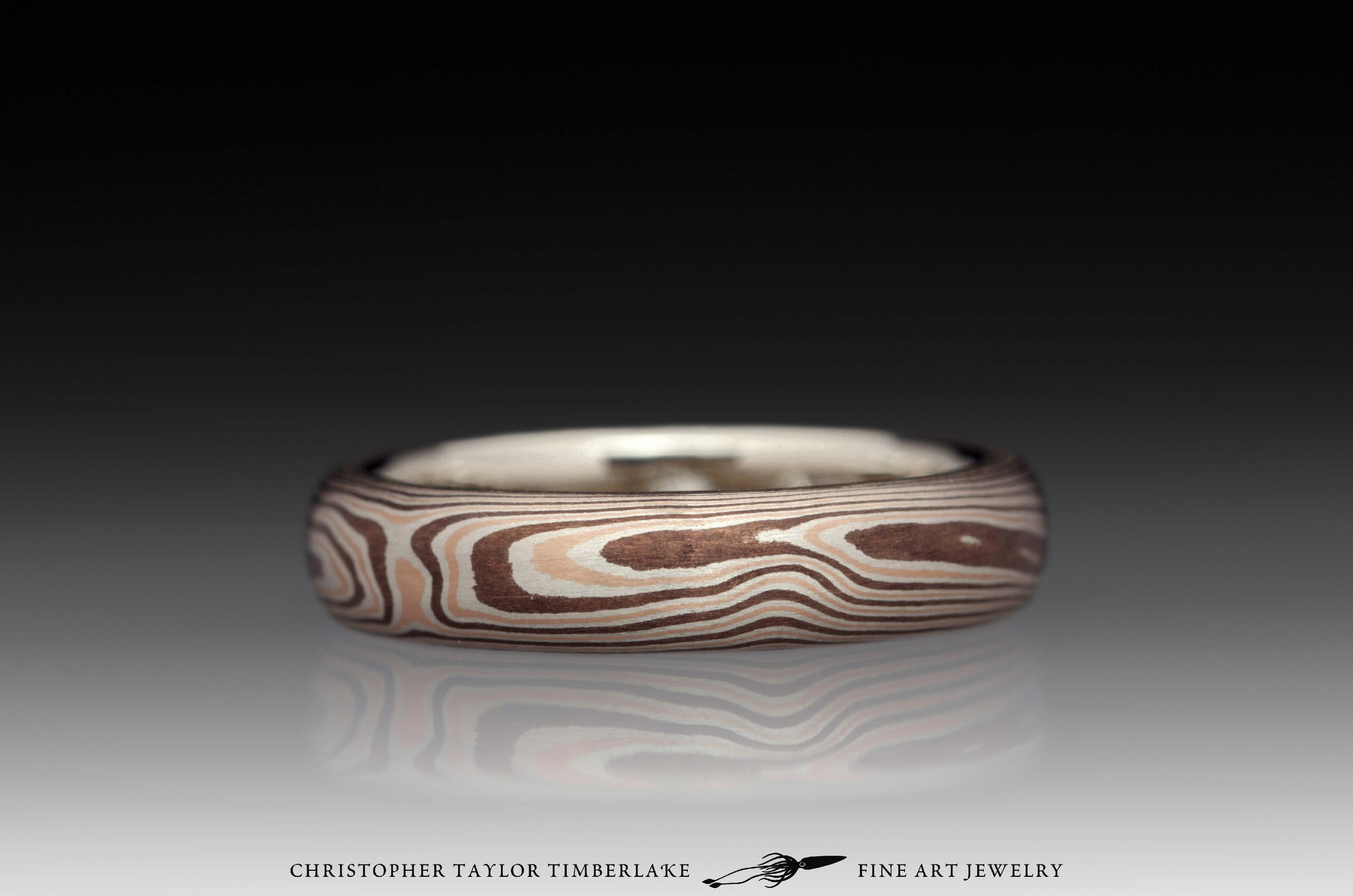 Mokumé-Mokume-Gane-Ring-(M81)-14K-rose-gold,-sterling-silver-with-palladium,-shakudo-2k,-14K-white-gold-inner-band,-domed,-flush-set-rd-2.9mm-diamond,-woodgrain,-4mm-3