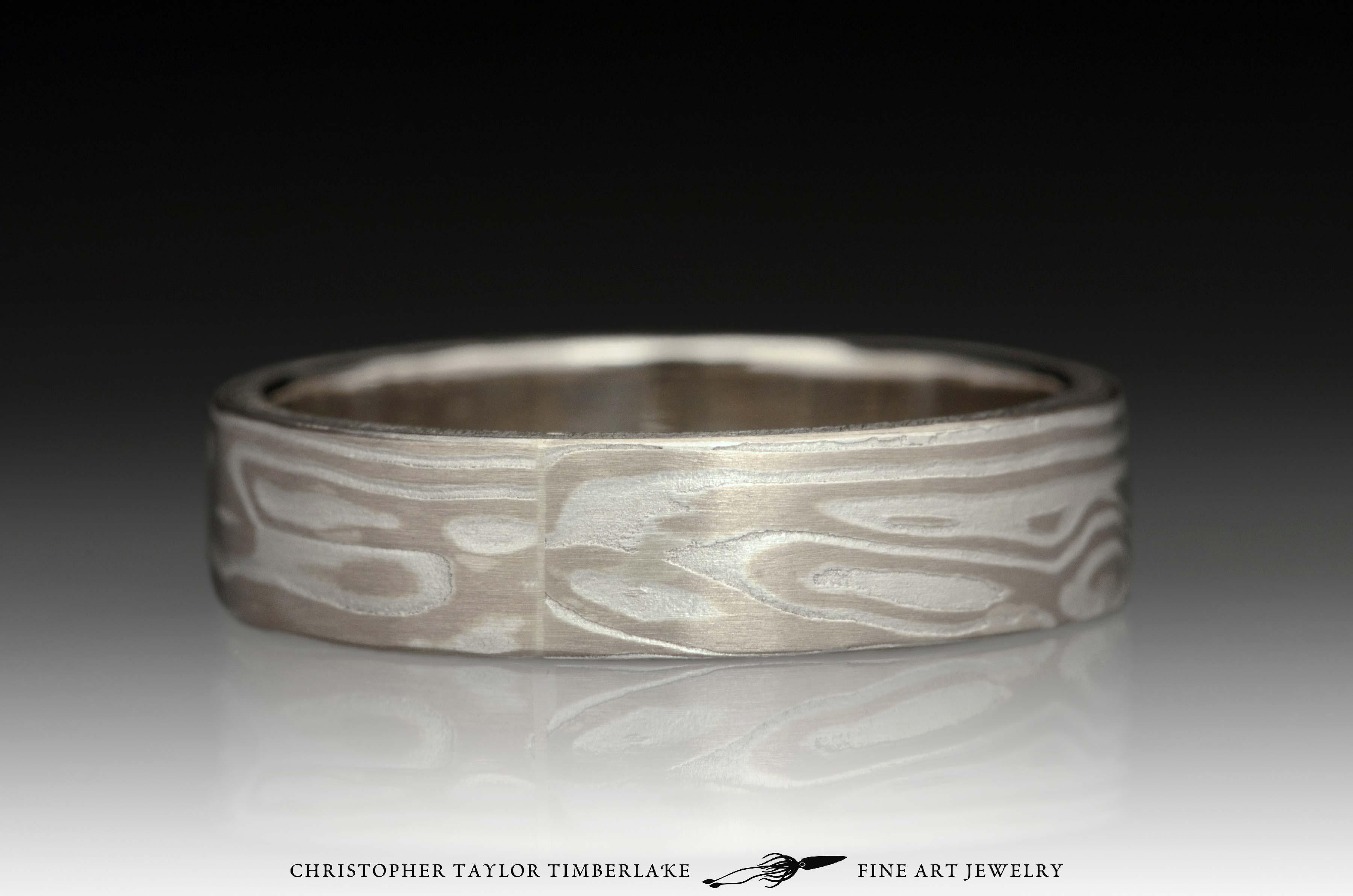 Mokumé-Mokume-Gane-Ring-(M92)-14K-karat-palladium-white-gold,-sterling-silver,-14k-white-gold-inner-band,-etched,-flat-topped,-wood-grain-3