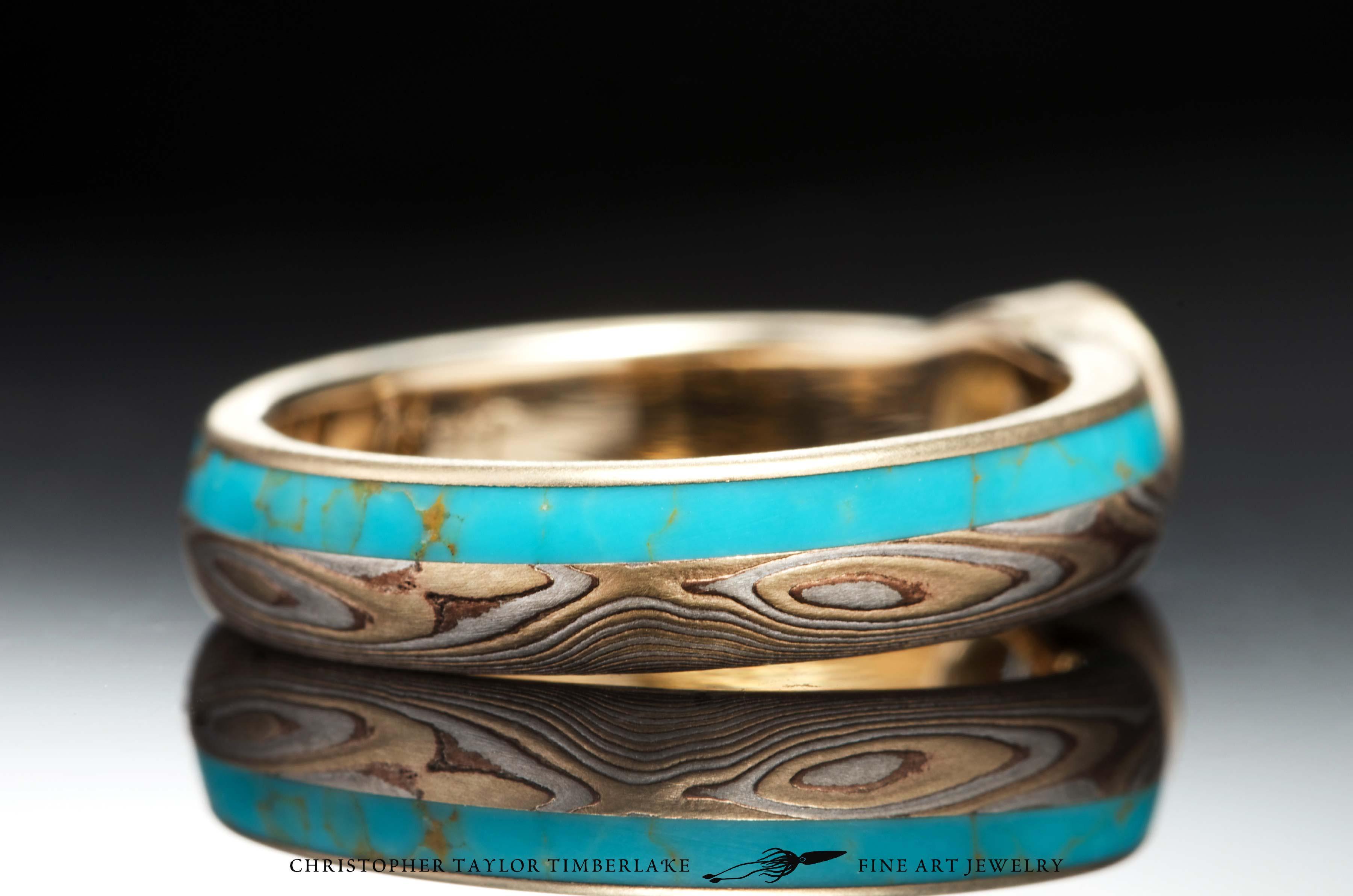 Mokume-(M77)-14K-karat-Yellow-Gold,-Shakudo,-Sterling-Silver,-etched,-woodgrain,-turquoise-inlay-(2.5_1.5)-0.50CT-RD-E-SI2-5,09×5,11mm-diamond-3