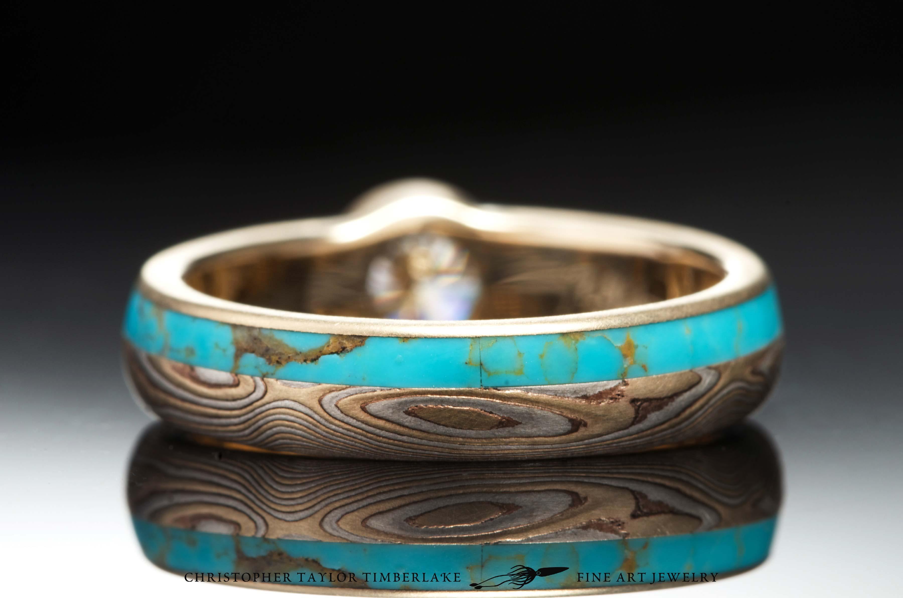 Mokume-(M77)-14K-karat-Yellow-Gold,-Shakudo,-Sterling-Silver,-etched,-woodgrain,-turquoise-inlay-(2.5_1.5)-0.50CT-RD-E-SI2-5,09×5,11mm-diamond-4