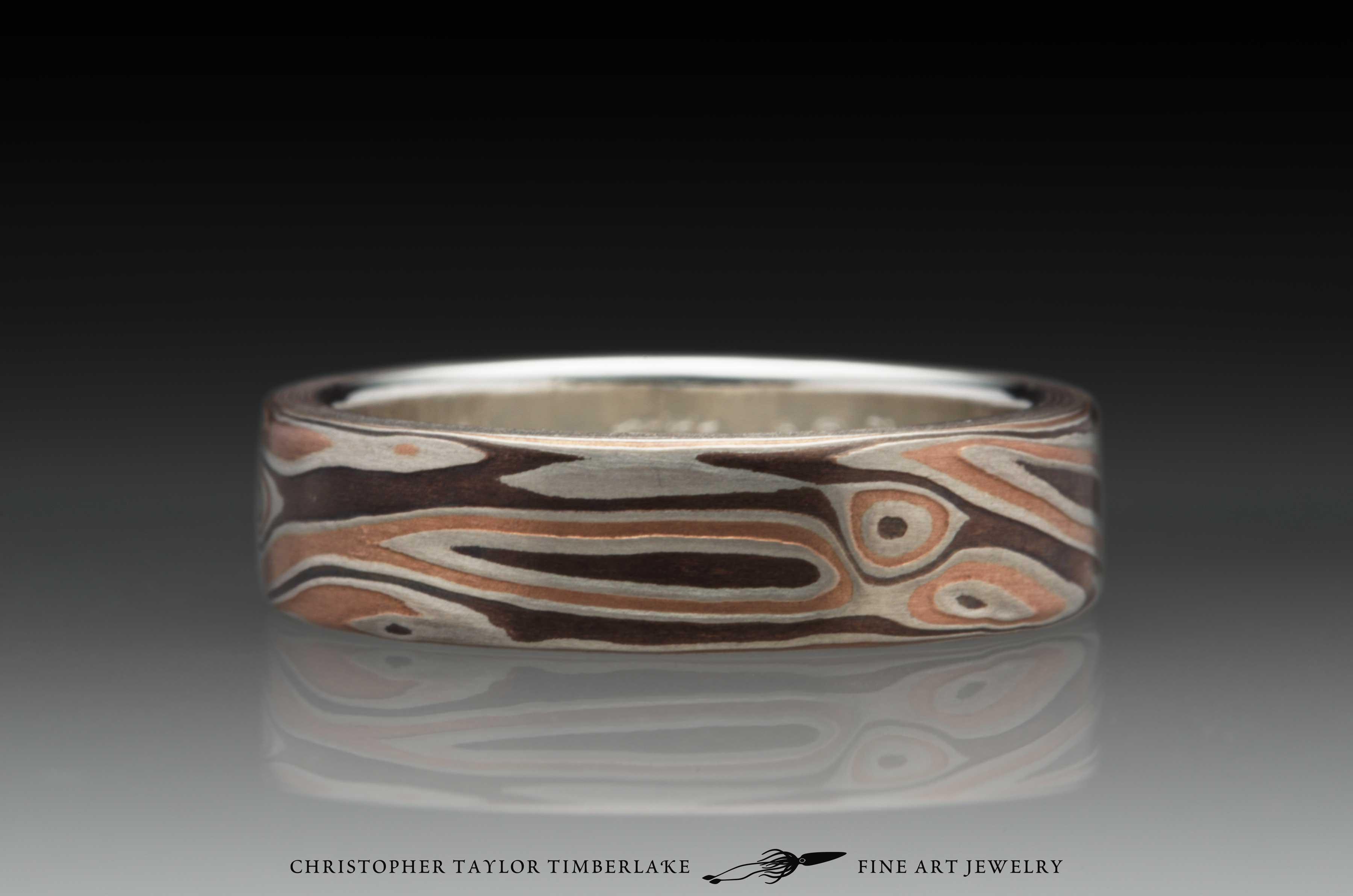 Mokume-Gane-(M114)-Sterling-Silver,-Shakudo-2K,-Shakudo-5K,-sterling-silver-inner-band,-woodgrain-pattern,-flat-topped,-etched,-6mm-1