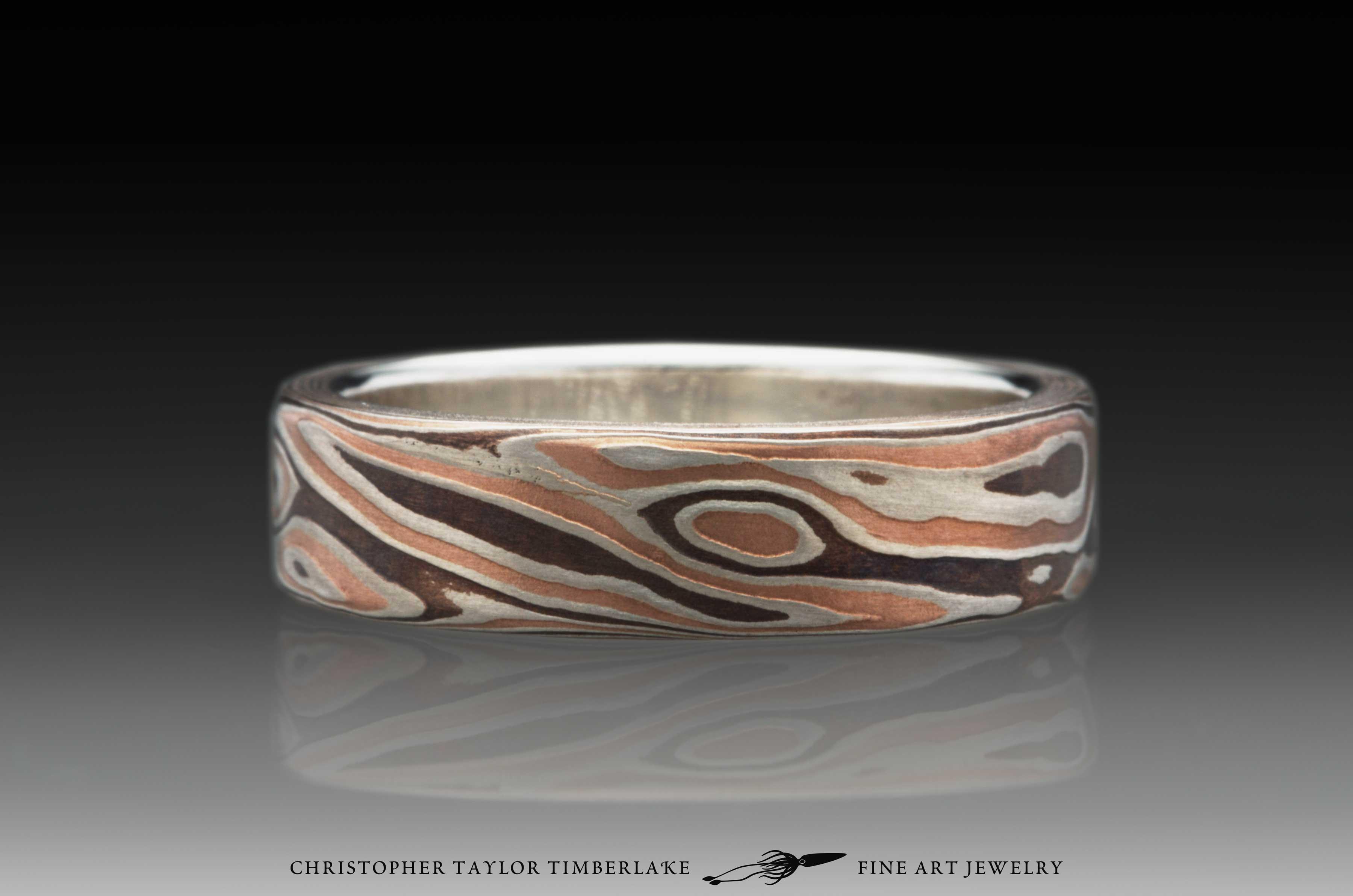Mokume-Gane-(M114)-Sterling-Silver,-Shakudo-2K,-Shakudo-5K,-sterling-silver-inner-band,-woodgrain-pattern,-flat-topped,-etched,-6mm-4