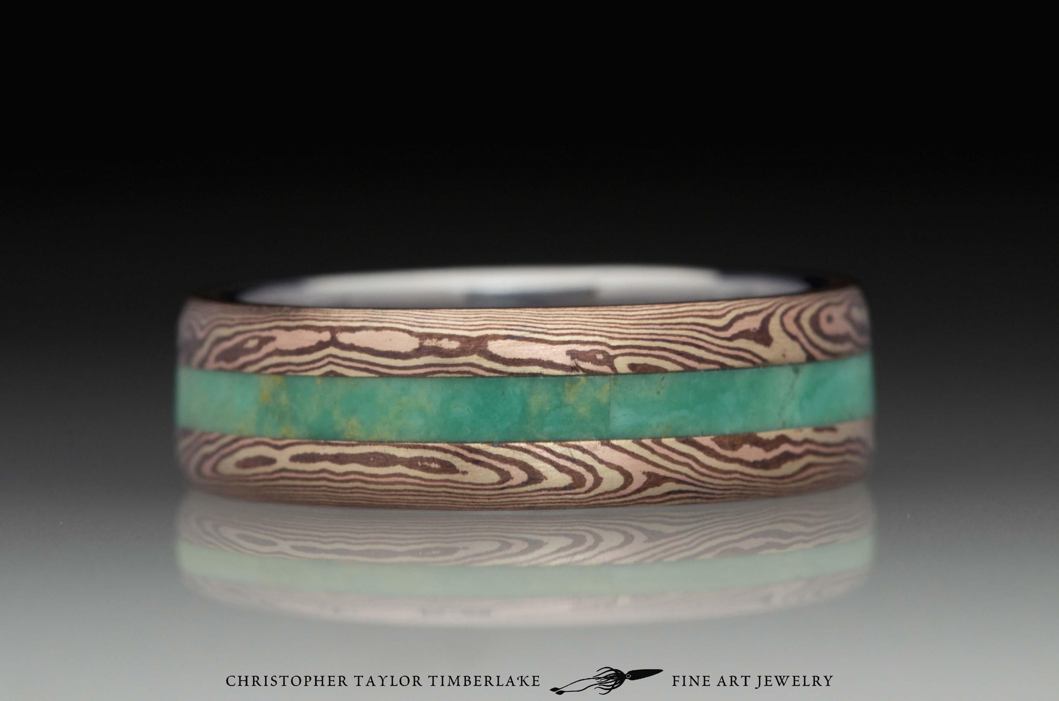 Mokumé-Mokume-Gane-Ring-(M84b)-14K-karat-yellow-gold,-14K-rose-gold,-shakudo-2k,-green-turquoise-inlay,-domed,-river-flow,-stainless-inner-band,-6mm-(2-2-2)–1