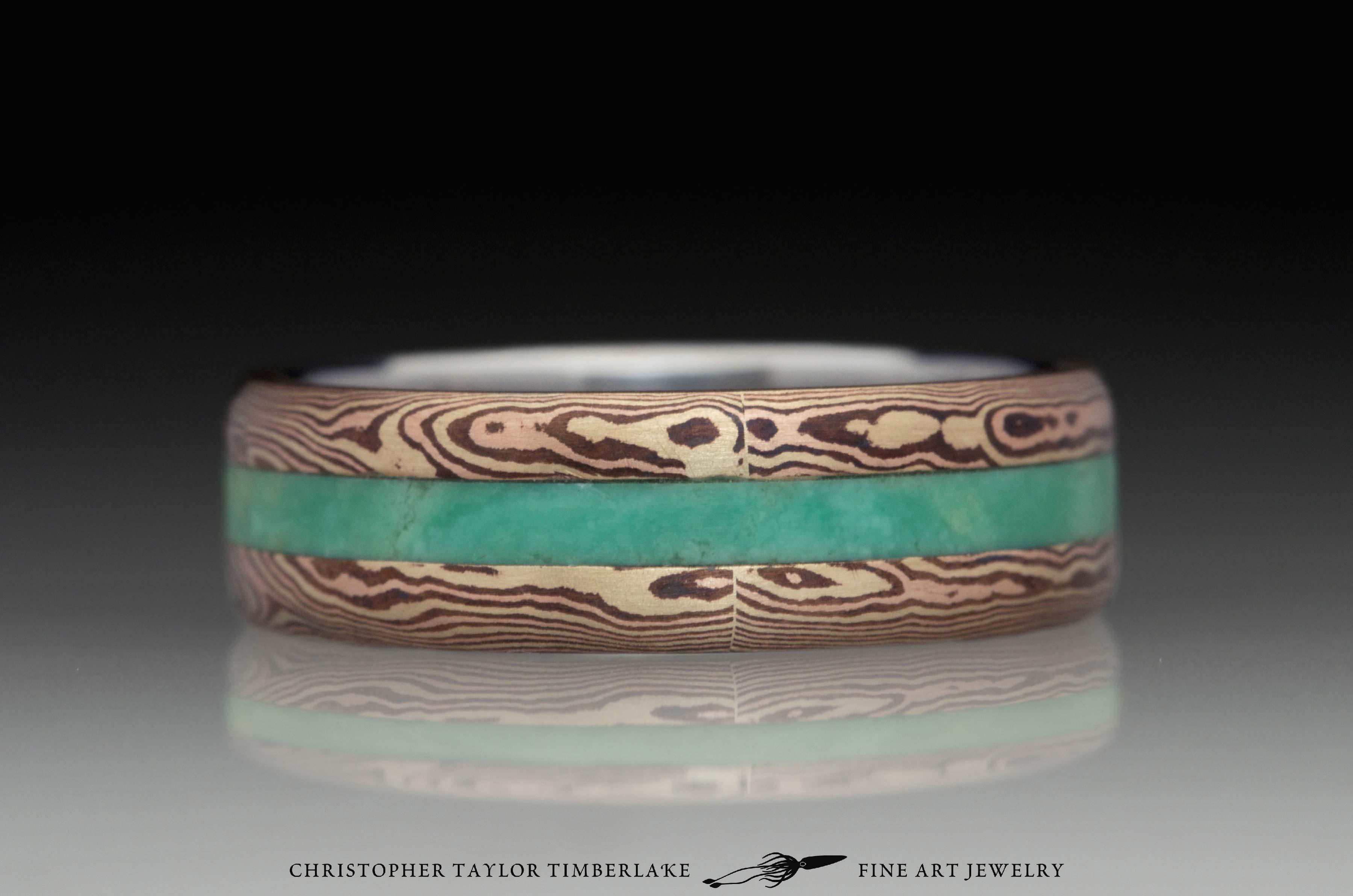 Mokumé-Mokume-Gane-Ring-(M84b)-14K-karat-yellow-gold,-14K-rose-gold,-shakudo-2k,-green-turquoise-inlay,-domed,-river-flow,-stainless-inner-band,-6mm-(2-2-2)–2