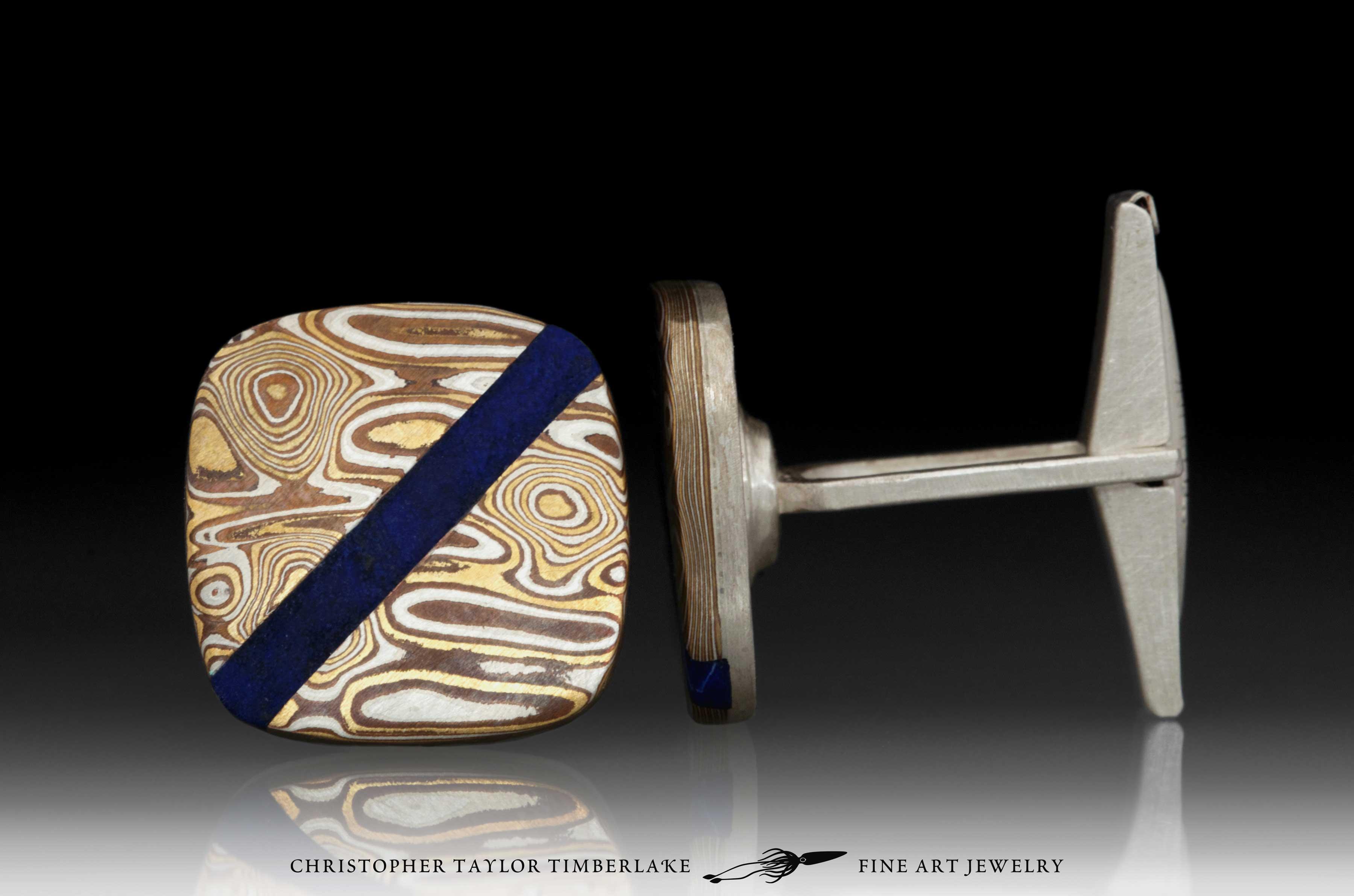 Mokume—Mokumé-Gane-Cufflinks-(M94)-Silver,-copper,-brass-with-lapis-stone-inlay-3