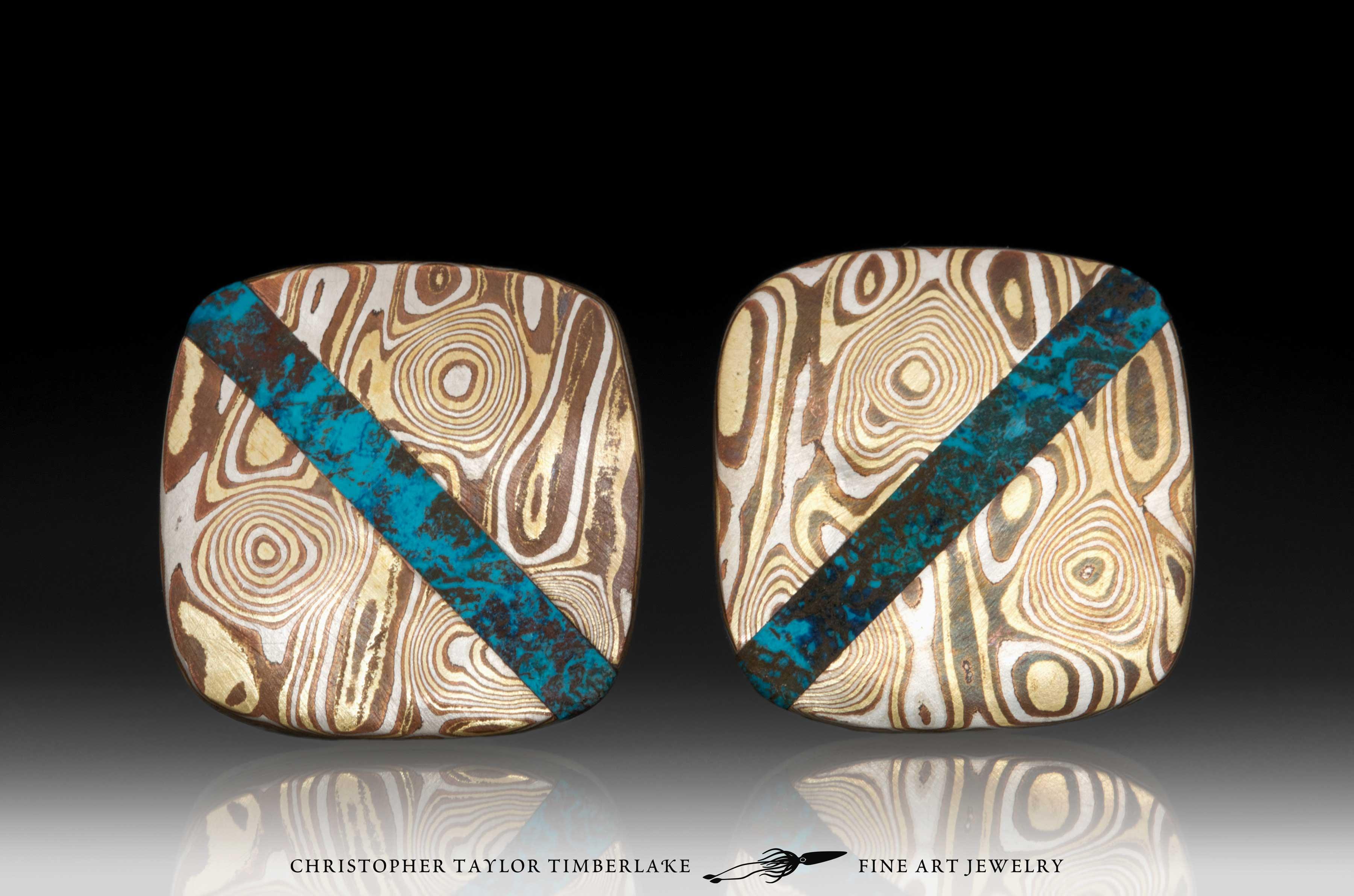 Mokume-Mokumé-Gane-Cufflinks-(M94)-silver,-copper,-brass,-shattuckite inlay-1