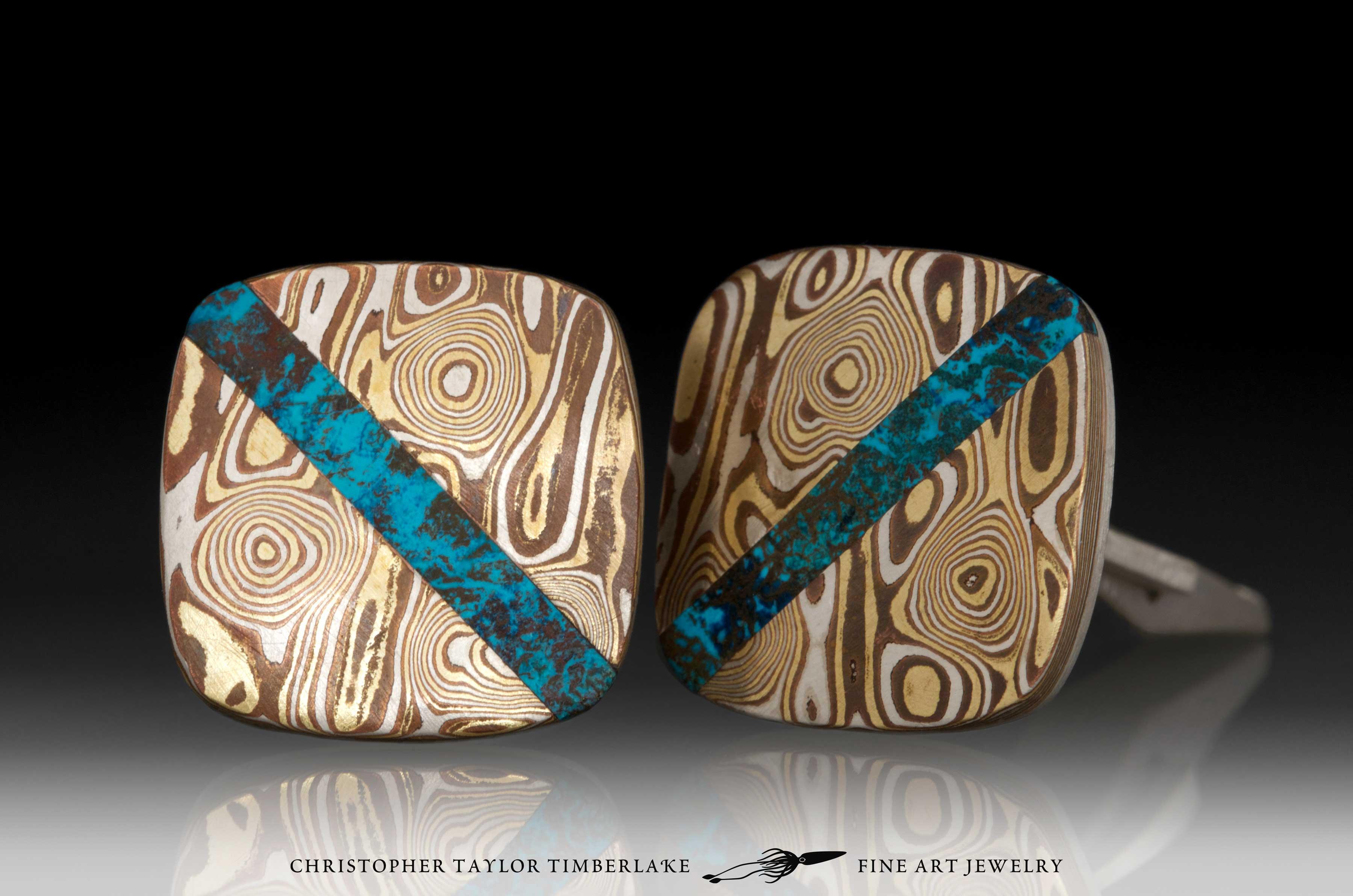Mokume-Mokumé-Gane-Cufflinks-(M94)-silver,-copper,-brass,-shattuckite inlay-2