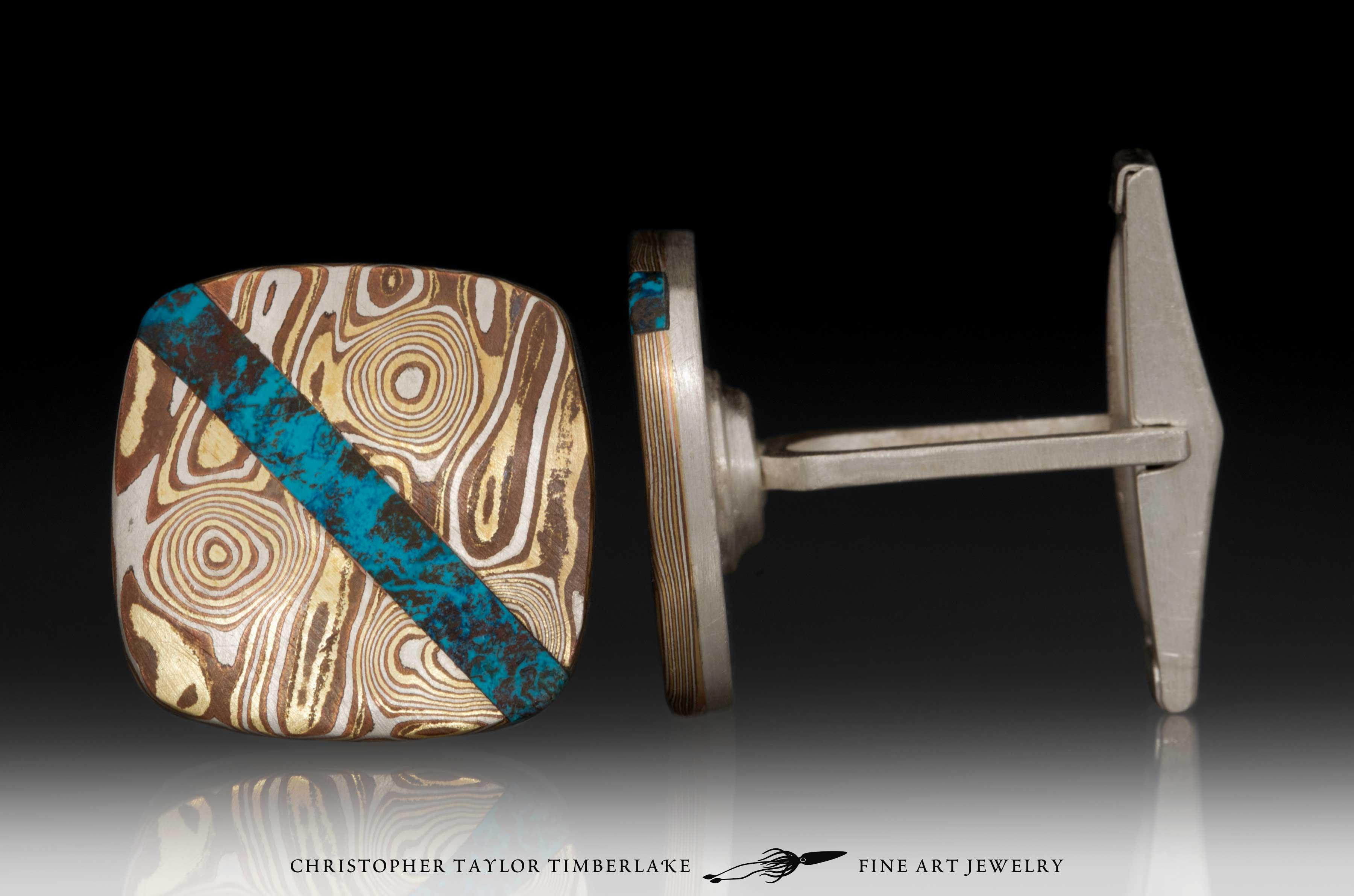 Mokume-Mokumé-Gane-Cufflinks-(M94)-silver,-copper,-brass,-shattuckite inlay-3