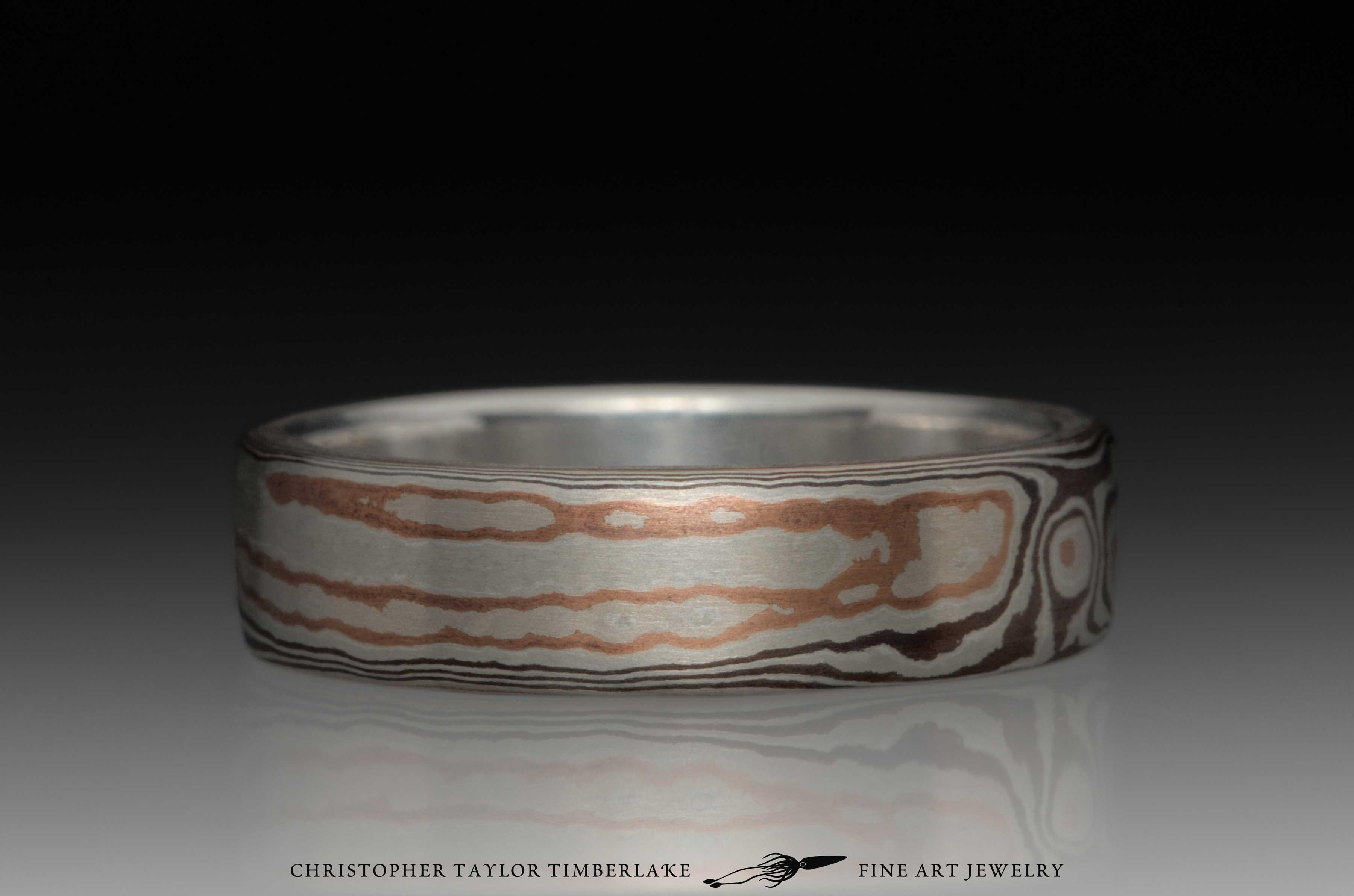 Mokume-Gane-(M65)-sterling-silver,-shakudo-2k,-shakudo-5k,-woodgrain,-sterling-inner-band,-flat-topped,-6mm-2