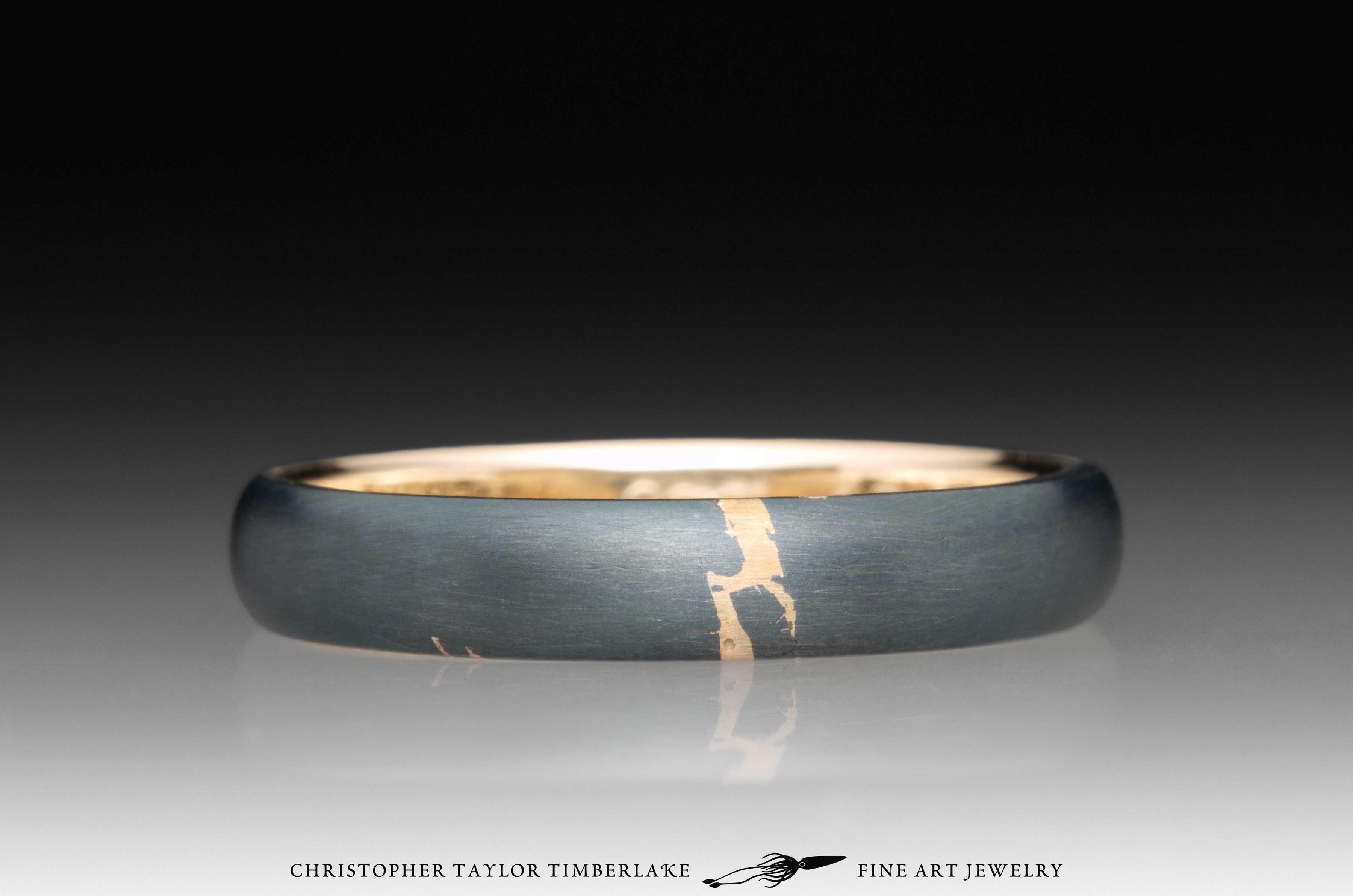 Meteorite Kintsugi Ring, 14K yellow gold, 18K yellow gold 1