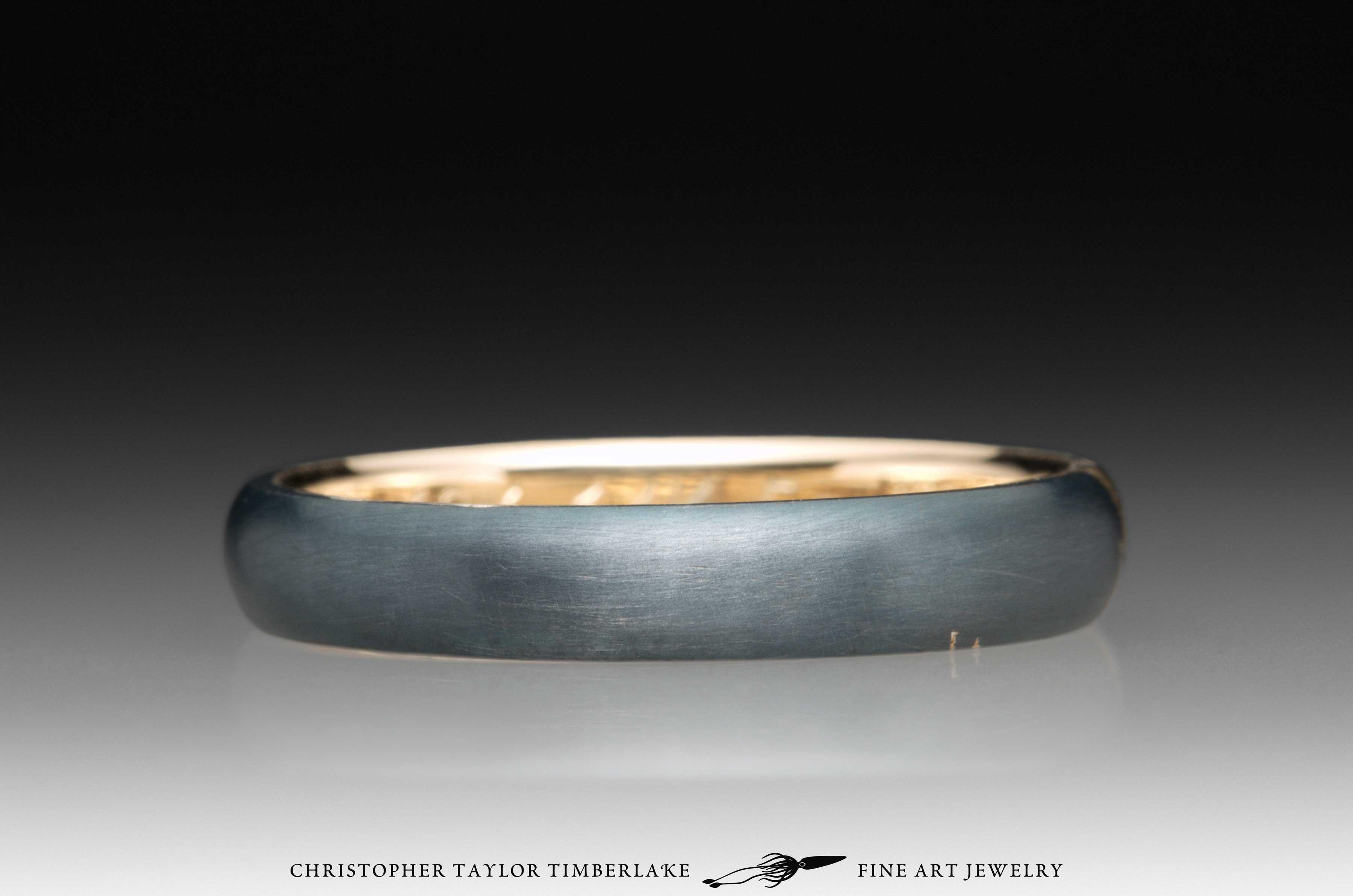 Meteorite Kintsugi Ring, 14K yellow gold, 18K yellow gold 2