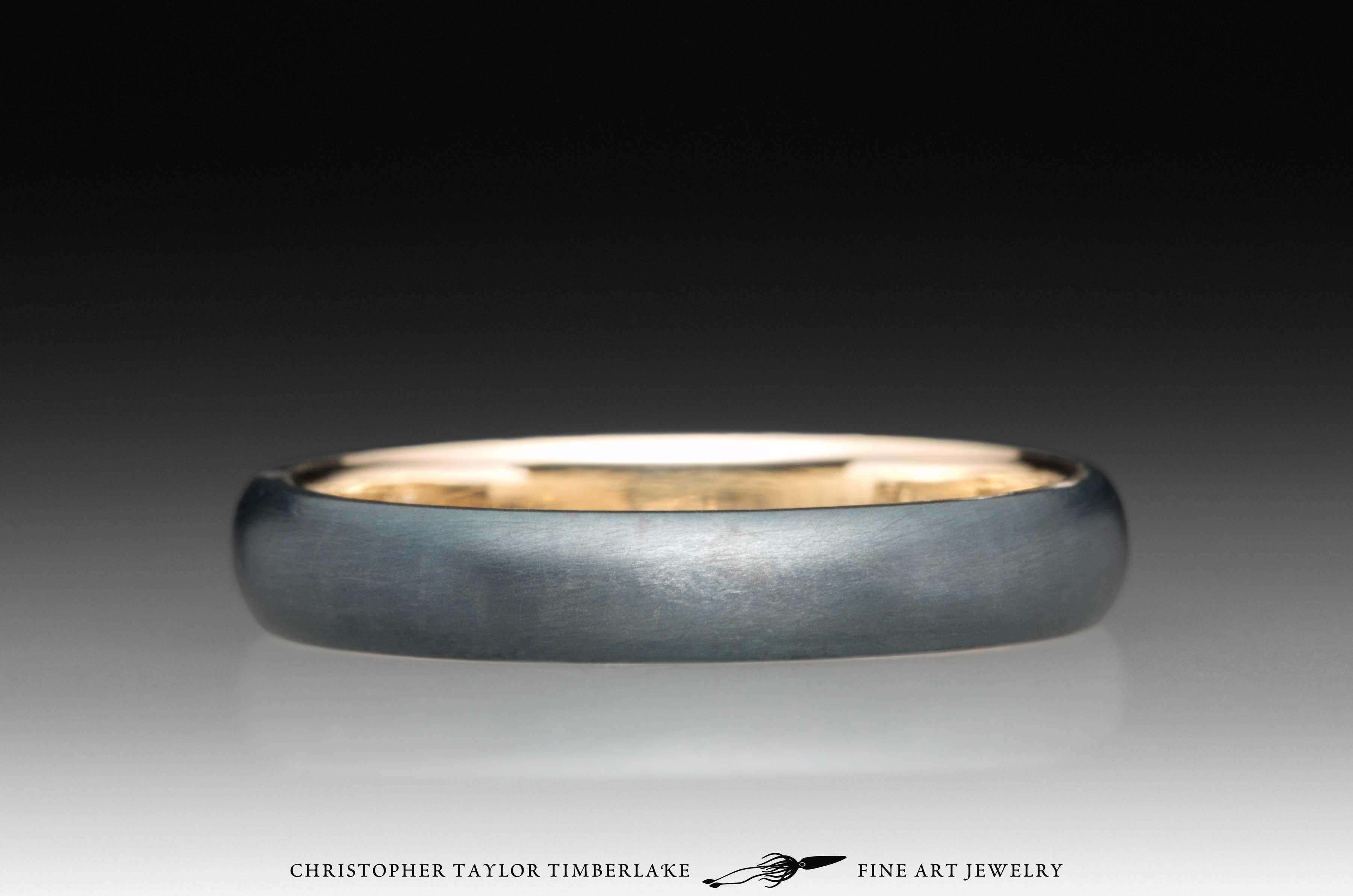 Meteorite Kintsugi Ring, 14K yellow gold, 18K yellow gold 3