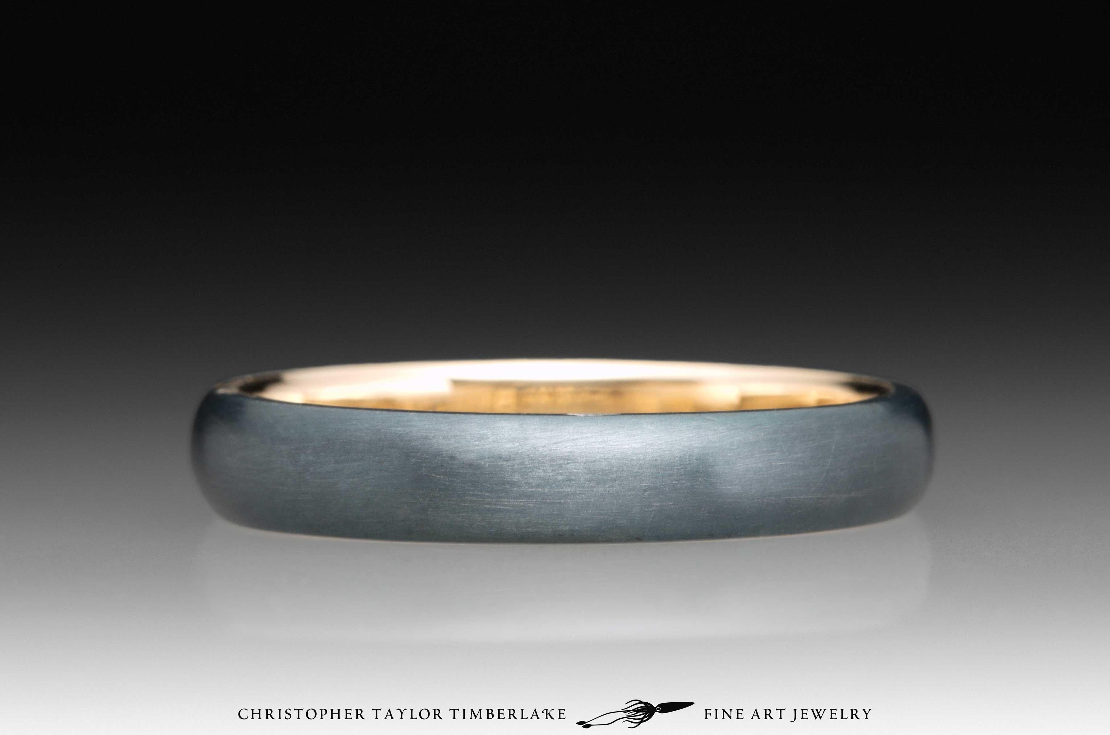 Meteorite Kintsugi Ring, 14K yellow gold, 18K yellow gold 4