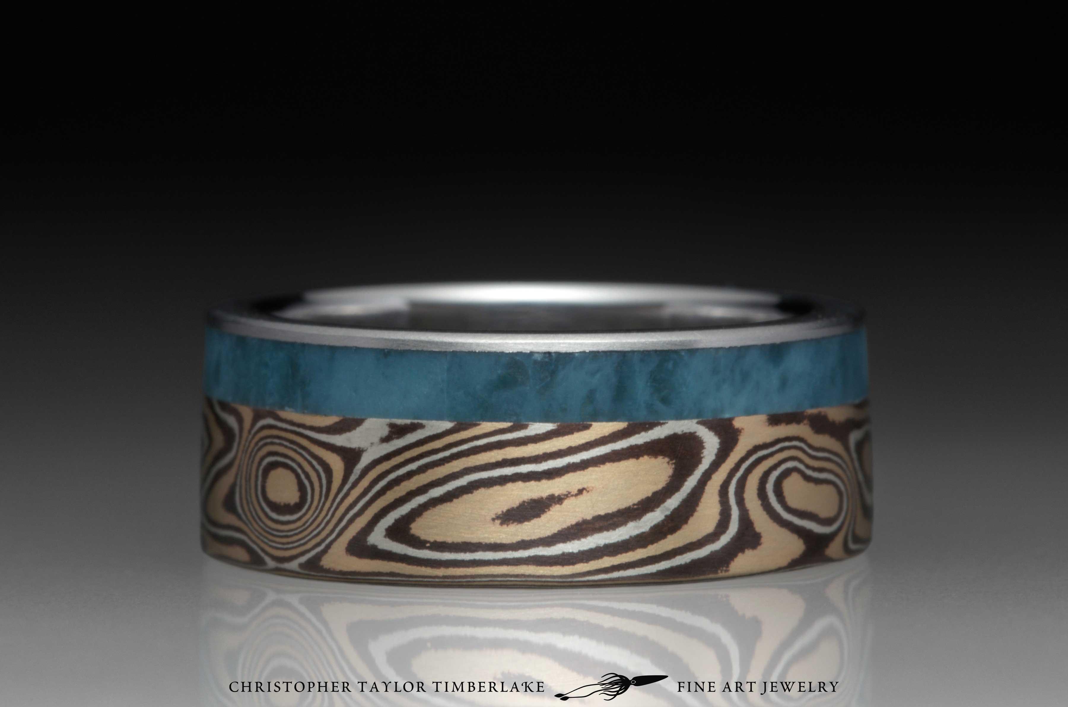 Mokume-Gane-(M119)-14K-yellow-gold,-sterling-silver,-shakudo,-7.4mm-(5-2-.4),-woodgrain,-flat-topped,-stainless-steel-inner-band-2