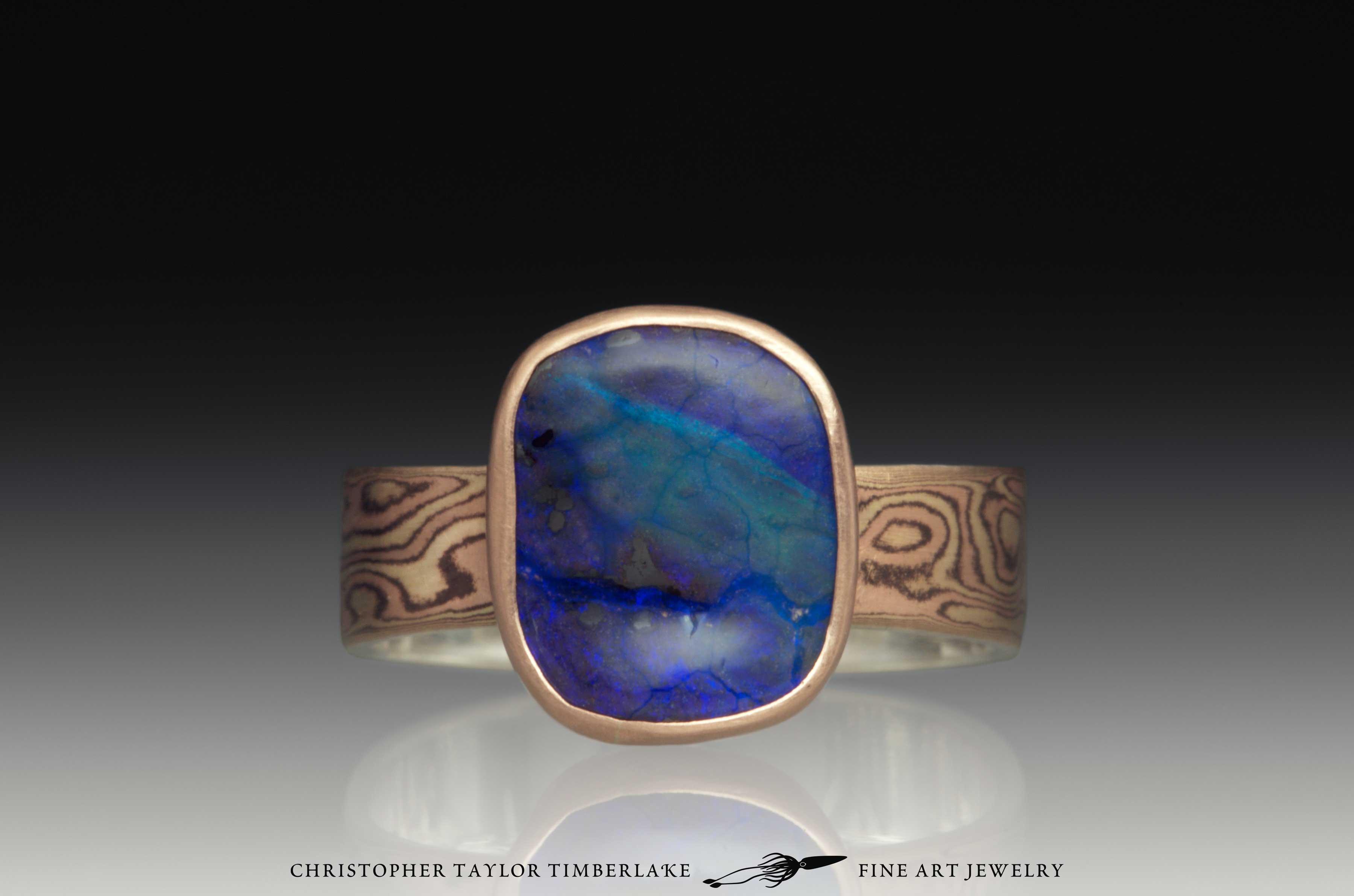 Mokume Gane Boulder Opal Ring 1
