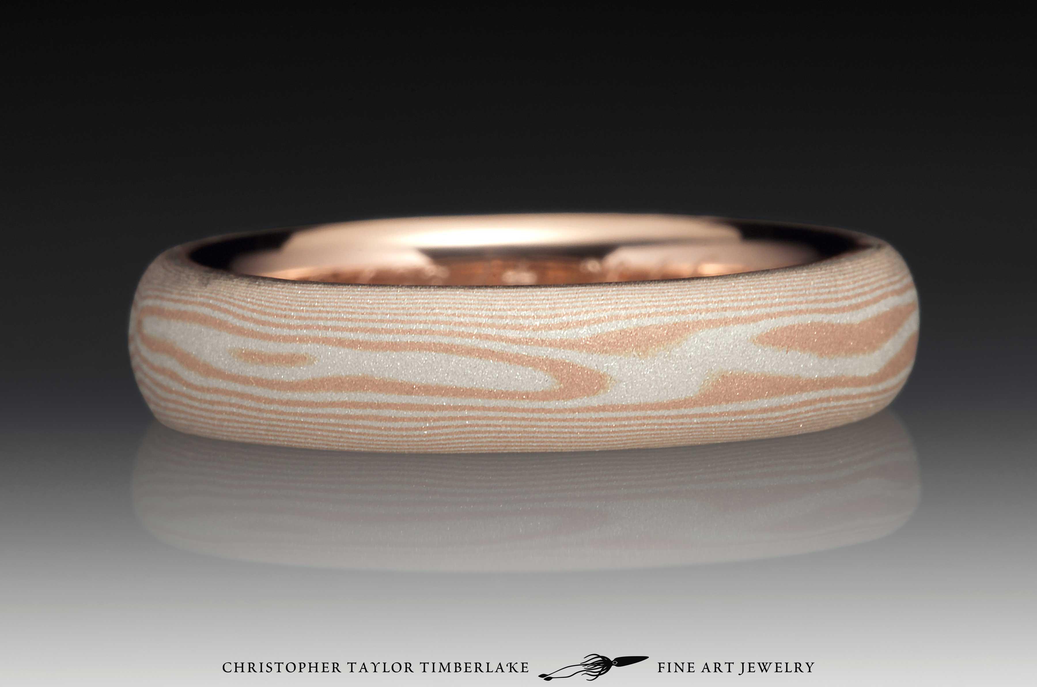 Mokume Gane 14K Rose Gold and Sterling Silver Sandblasted Ring 1