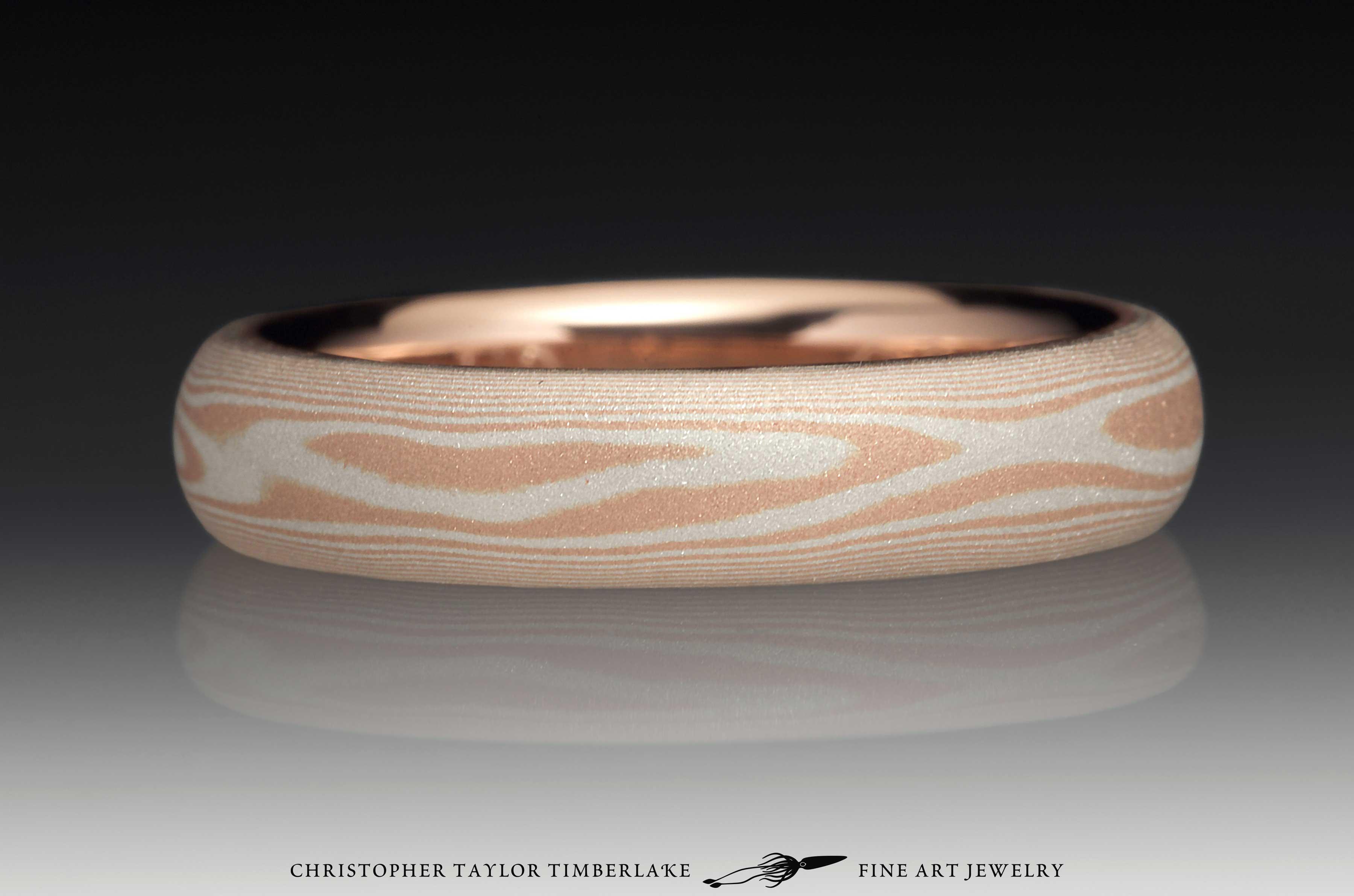 Mokume Gane 14K Rose Gold and Sterling Silver Sandblasted Ring 2