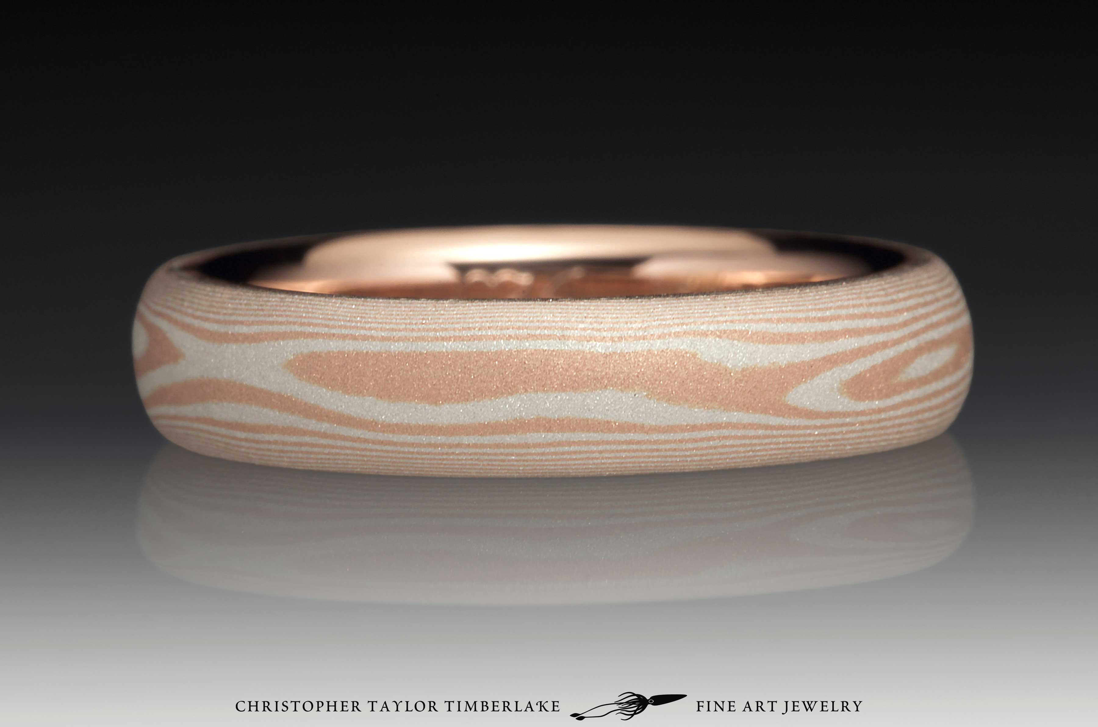 Mokume Gane 14K Rose Gold and Sterling Silver Sandblasted Ring 3