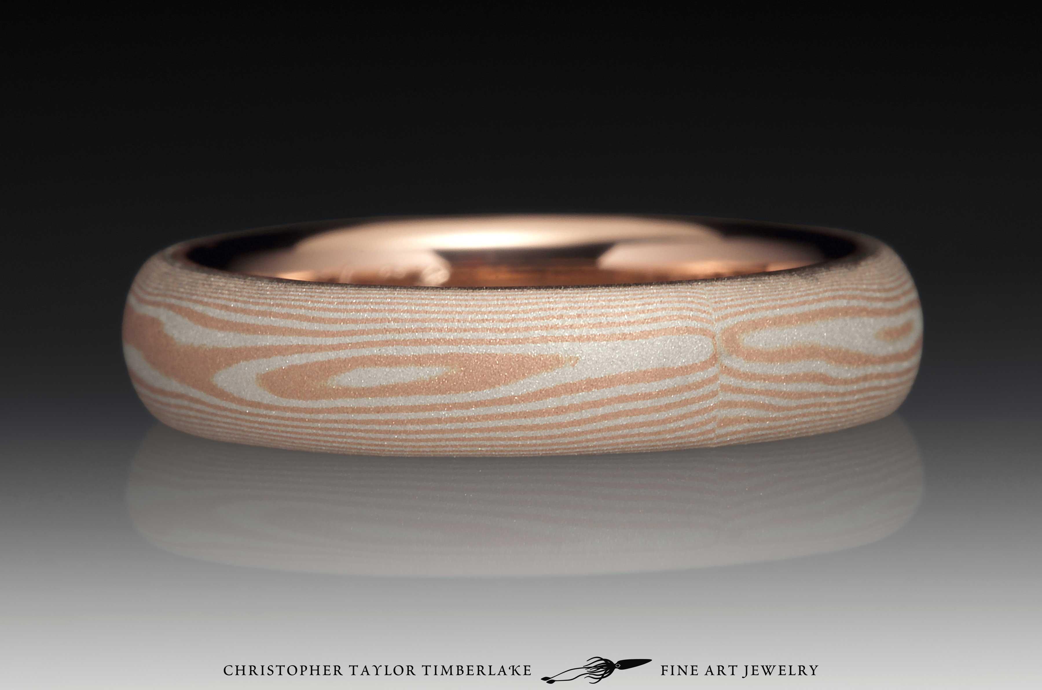 Mokume Gane 14K Rose Gold and Sterling Silver Sandblasted Ring 4