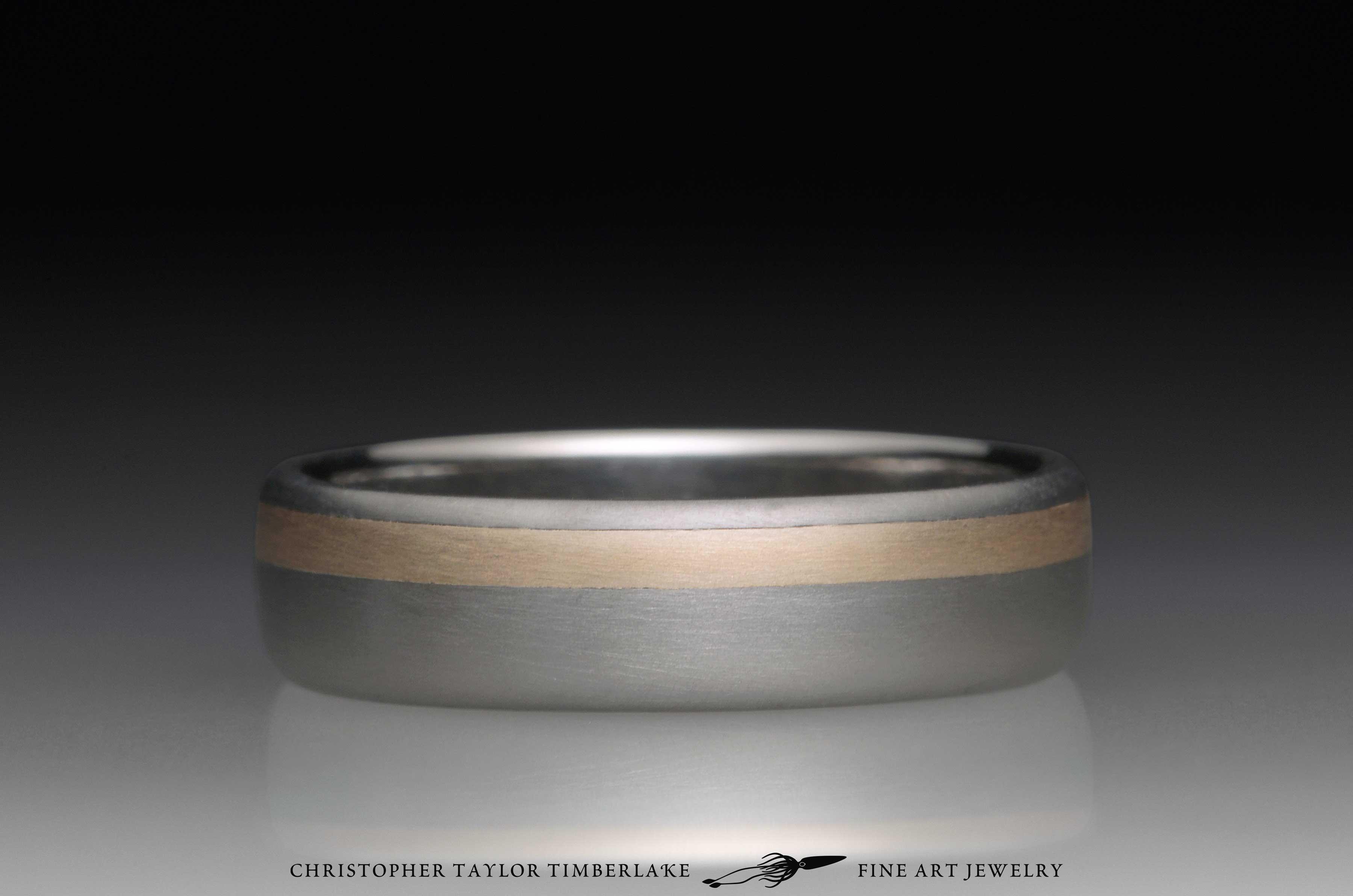 Titanium and 14K Yellow Gold Ring 4